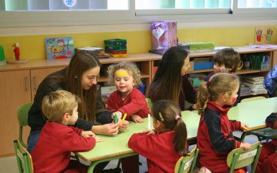 Alumnas del grupo de voluntariado realizan una divertida actividad para promover la festividad de Don Bosco entre los más pequeños del colegio