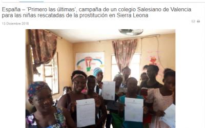 """La Agencia de Noticias Salesiana (ANS) publica en portada la campaña """"Primero las Últimas"""" del Colegio Salesiano San Juan Bosco de Valencia"""